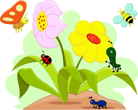 cartoon illustration of funny insects
