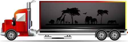 container freight: container with a picture of wildlife Illustration