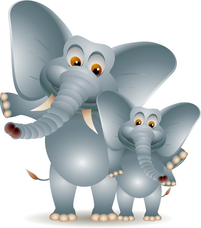 elephant with his soon Vector
