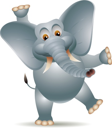 Cheerful elephant raising his hands Vector