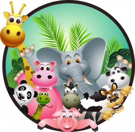 hipopotamo dibujos animados: los animales de dibujos animados Vectores