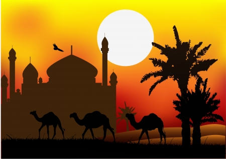 arabic desert: silhouette of camel trip with mosque background Illustration