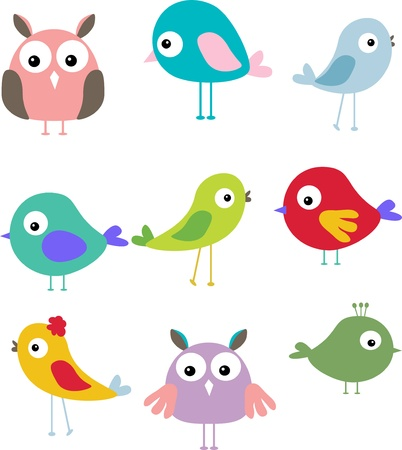 expression of beautiful illustrations of birds Vector