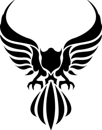 tribal tattoo of an eagle body Vector