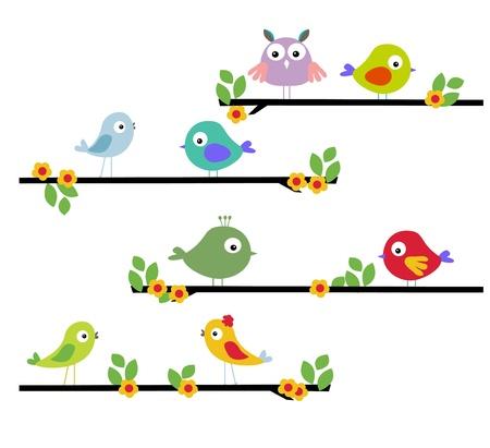 birdhouse: beautiful illustrations of birds on a limb