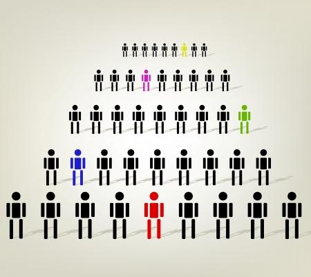corporate hierarchy: colorful organizzativa aziendale gerarchia uomo d'affari Vettoriali