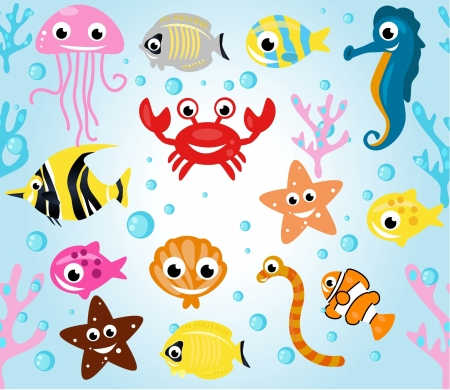 sea creatures: flora and fauna in the sea Illustration