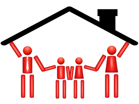 cooperation illustrate a family in a house Vector