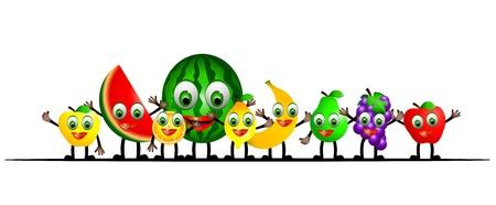 children eating fruit: funny fruits cartoon isolated on white background Illustration