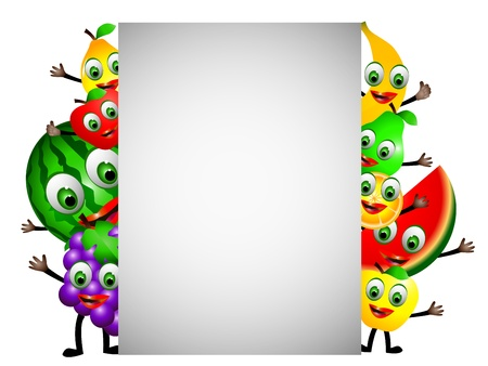 funny fruits cartoon with blank sign