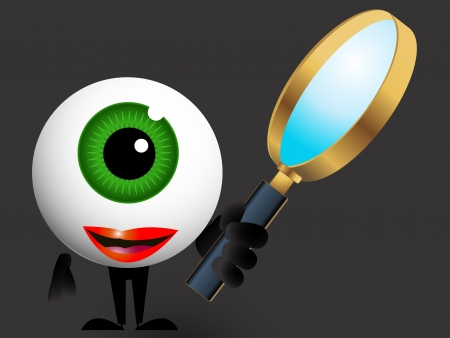 illustration of the eye detective with magnifying glass Vector