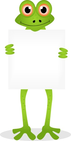 amphibious: funny frog cartoon with blank sign