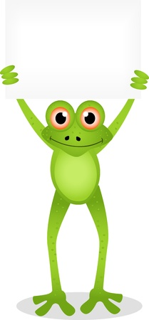 funny frog cartoon with blank sign Vector