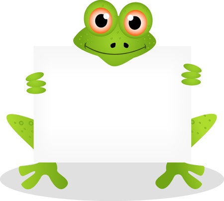 funny frog cartoon with blank sign Stock Vector - 14474312