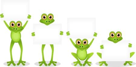 sapo principe: de dibujos animados rana divertida con muestra en blanco