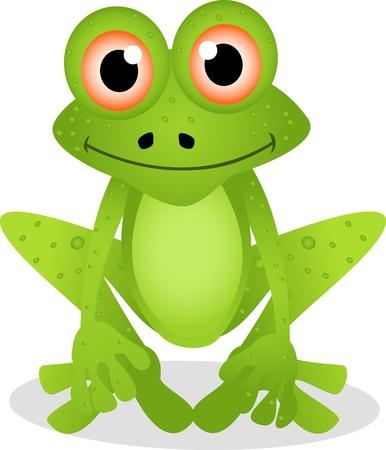 sapo: de dibujos animados rana divertida Vectores