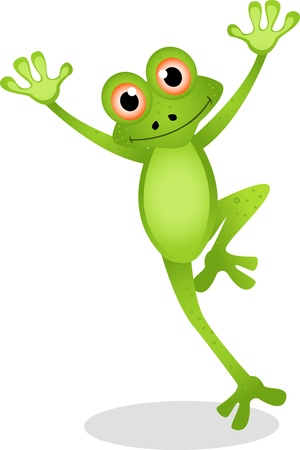 funny frog cartoon Vector