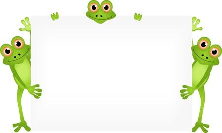 sapo: de dibujos animados rana divertida con muestra en blanco