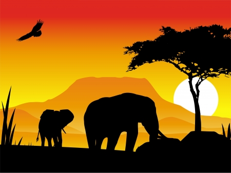 illustration of an elephant silhouette with a backdrop of natural scenery Vector