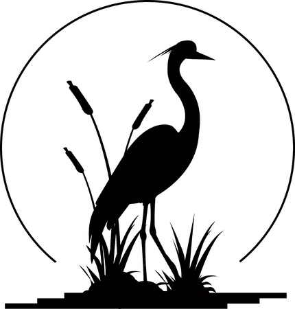 birds lake: silhouette of a beautiful heron Illustration