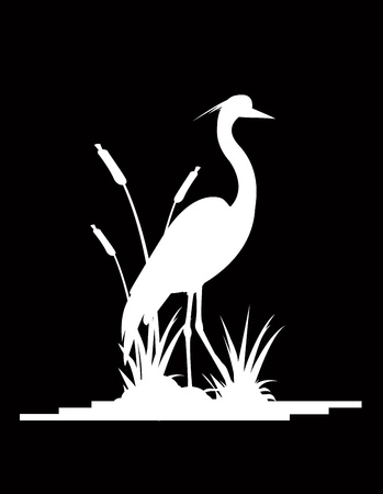 reeds: silhouette of a beautiful heron Illustration