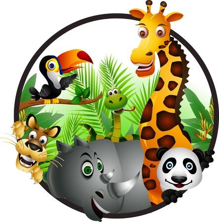 toekan: Wilde Afrikaanse dieren cartoon Stock Illustratie