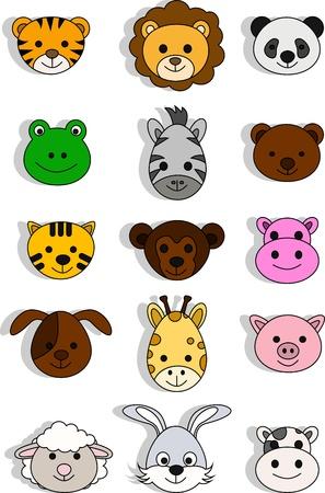 a variety of cute cartoon animals Vector