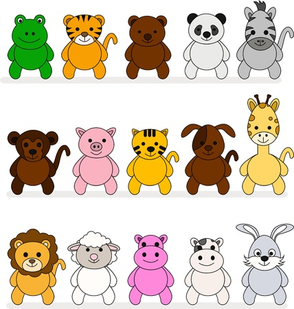 a variety of cute cartoon animals Vector
