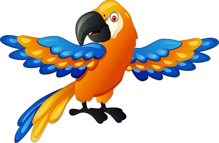 Funny parrot cartoon  Vector