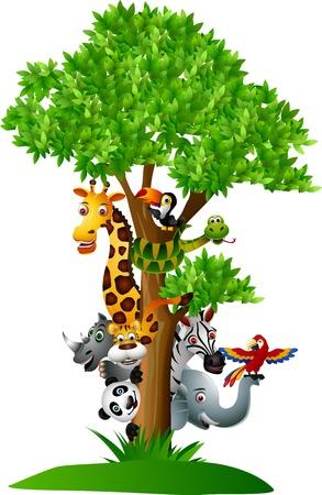 grass cartoon: Funny wild African animal cartoon