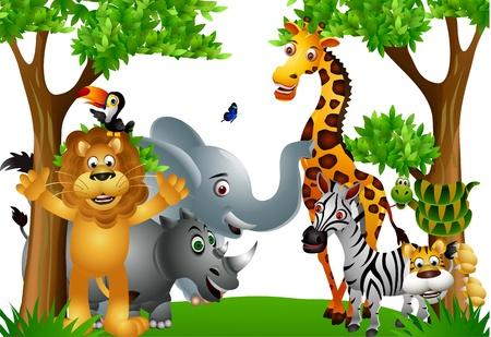 Funny wild African animal cartoon