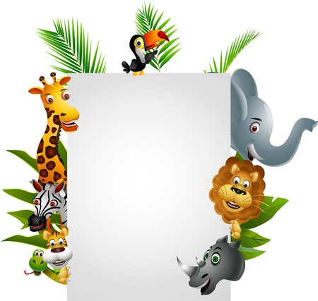 Wild African animal cartoon with blank sign Stock Vector - 14508809