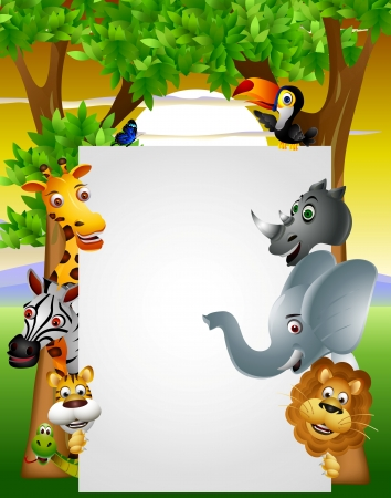 giraffes: Wild African animal cartoon with blank sign