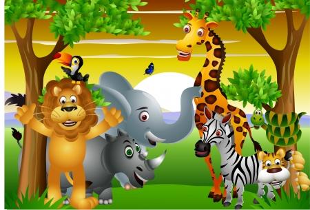selva: Dibujos de animales salvajes de África, con cartel en blanco