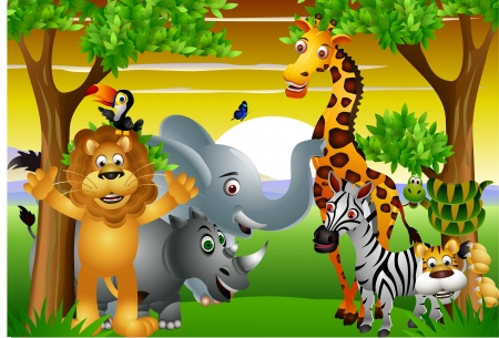 cartoon jungle: Wild African animal cartoon with blank sign