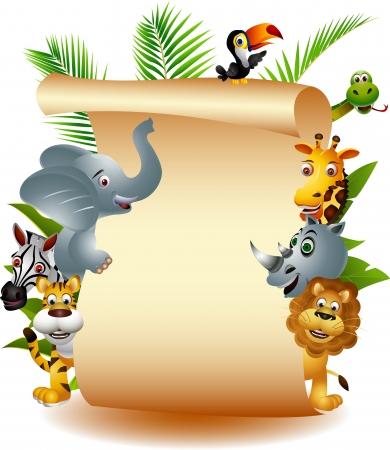 Dibujos de animales salvajes de África, con cartel en blanco