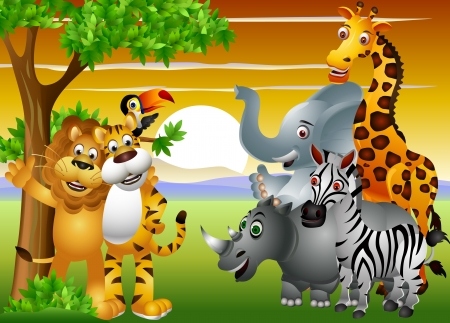 Wild African animal cartoon Illustration