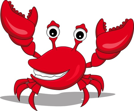 marine crustaceans: funny cartoon crab with raised hands