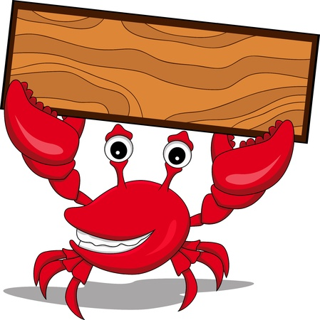 funny cartoon crabs by holding the nameplate Vector
