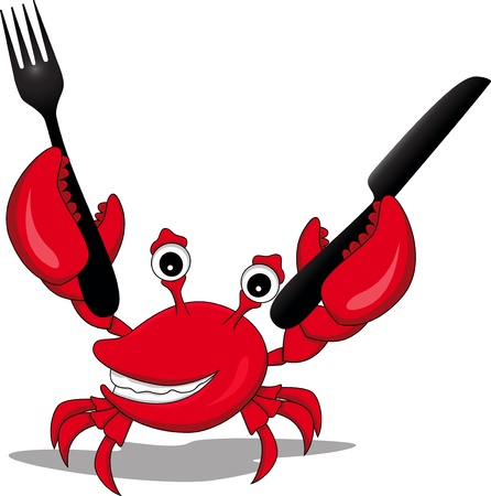 crab cartoon: funny cartoon crabs with a knife and fork