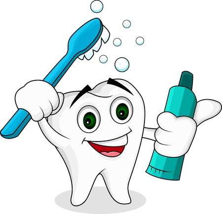 tooth cleaning: Tooth cartoon character Illustration