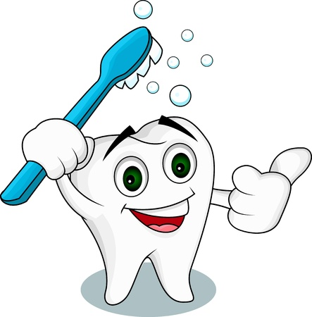 diente caries: Diente de personaje de dibujos animados