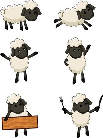 pecora: Sheep personaggio dei cartoni animati Vettoriali