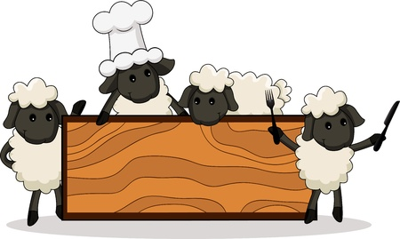 cute lamb cooks with diverse characters with board Vector
