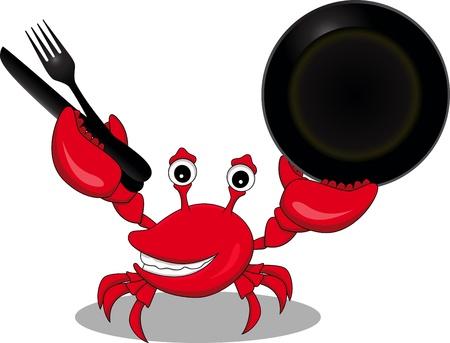 cangrejo: divertida caricatura de cangrejo rojo que estaba sosteniendo un tenedor, cuchillo y plato Vectores