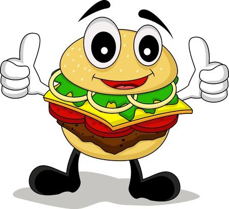 eating fast food: divertidos dibujos animados de car�cter hamburguesa Vectores
