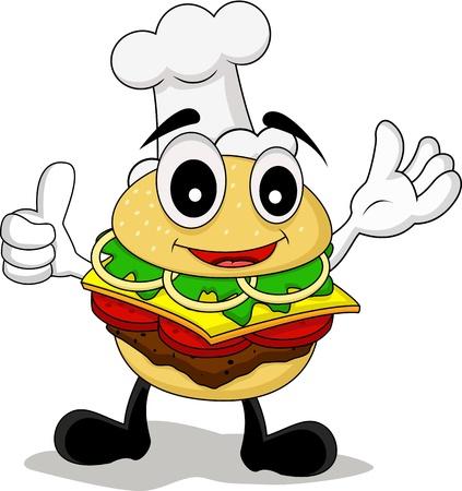 chef caricatura: historieta divertida cocinero de hamburguesas de car�cter
