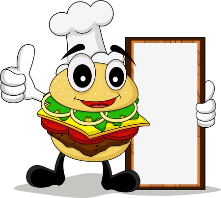 funny cartoon chef burger with board Vector