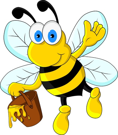 close up face: funny bee cartoon character
