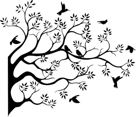 bomen zwart wit: mooie boom silhouet met vogel vliegen Stock Illustratie